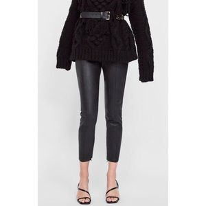 Zara High Waisted Zipper Ankle Leather Leggings